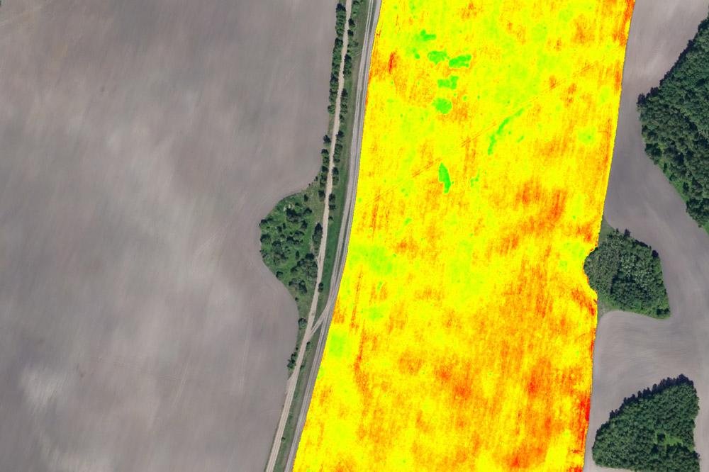 Анализ всхожести посевов, выполняемый с использованием мультиспектральной камеры