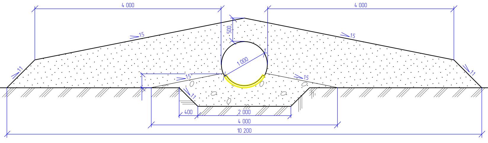 Отображение защитного лотка начертеже поперечного сечения трубы