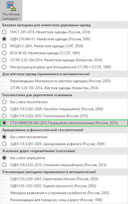 Список поддерживаемых методик вIndorPavement
